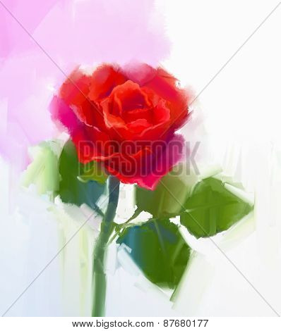 Red rose flower with green leaf oil painting.