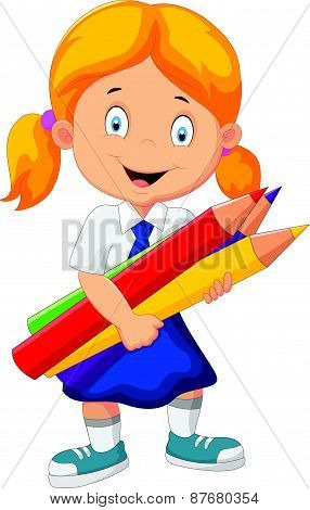 Cartoon school girl holding pencils