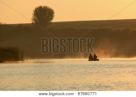 boating on the lake in a huge fog