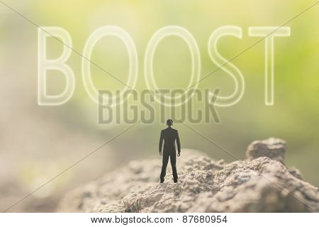 Concept of assist with a person stand in the outdoor and looking up the text over the sky in nature background.