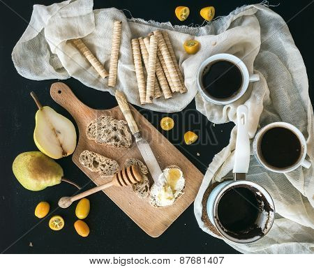 Breakfast / Coffee Break Set: A Pot (cezve) Of Coffee, Two Cups