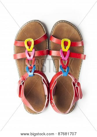 Top View On Pair Of Colorful Female Sandals