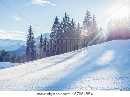 Mountain Skiing Slope In Garmisch-partenkirchen Resort  In Bavar