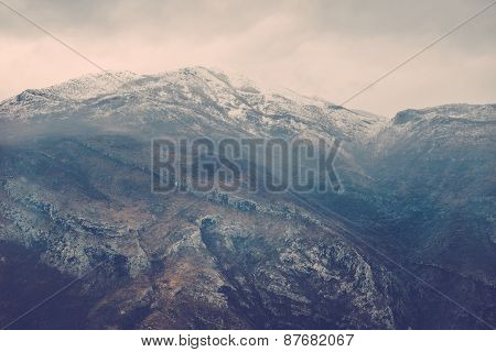 View Over Misty Montain Rock In The Moraca River Canyon In North