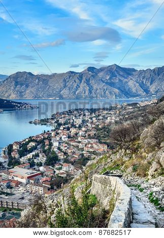 The View Over The Town Of Kotor, Montenegro, The Bay And The Mou