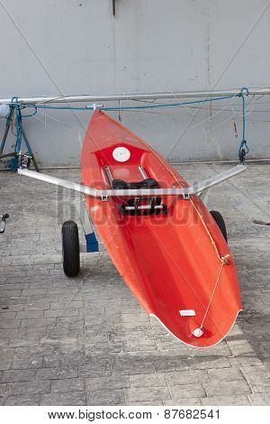Red Individual Racing Rowing Boat.