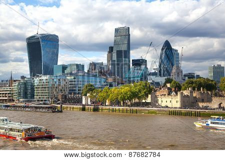 LONDON, UK - AUGUST 16, 2014: city of London view from river Thames. Modern London architecture