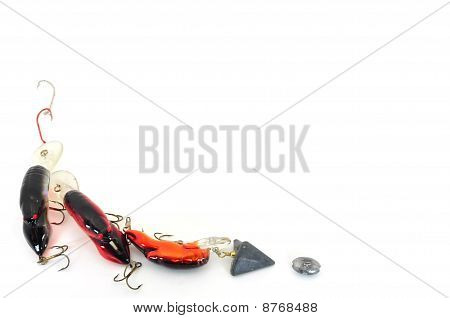 fishing tackle background isolated