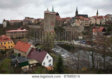 BAUTZEN, GERMANY - APRIL 7, 2012: Spree River in the historical centre in Bautzen, Upper Lusatia, Saxony, Germany.