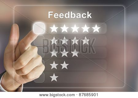 Business Hand Pushing Feedback On Virtual Screen