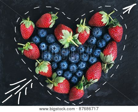 Saint Valentine's Day Greeting Berry Set. Fresh Garden Straberries