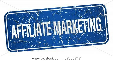 Affiliate Marketing Blue Square Grunge Textured Isolated Stamp