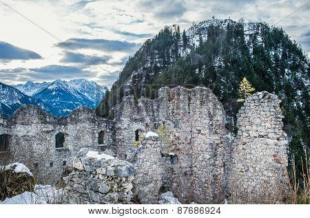 View Point In The Ehrenberg Castle In Titol Alps, Austria, Observing The Ashes And The Mountains