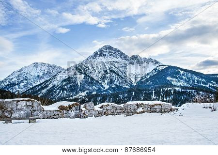 View Point In The Ehrenberg Castle In Titol Alps, Austria, Obser