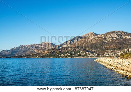 The Landscape Of The Adriatic Coast Of Bar, Montenegro. The Sea,