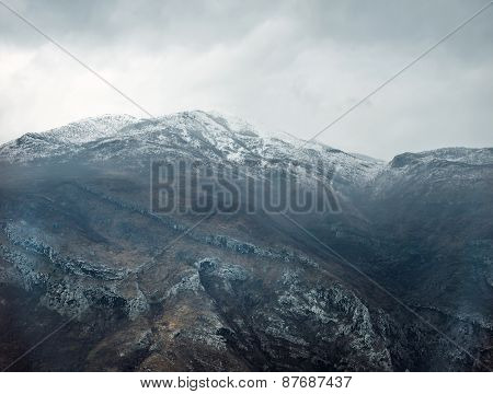 View Over Misty Montain Rock In The Moraca River Canyon, North Montenegro