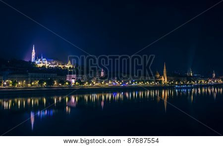 River View Of Budapest, Hungary, At Night, Illuminated Buda Side