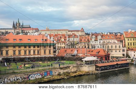View Over Mala Strana District, Kampa Island And The Old Castle From Charles