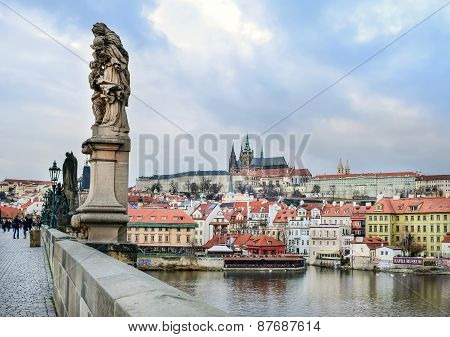 View Over Mala Strana District And Kampa Island From Charles Bridge