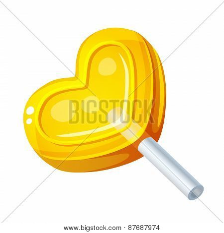 Detailed Icon. Heart Lollipop isolated on white background
