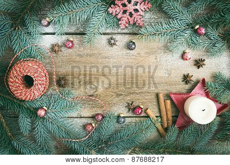 Christmas Decorations: Fur-tree Branches, Colorful Glass Balls, A Candle, Red Glittering Snowflake,
