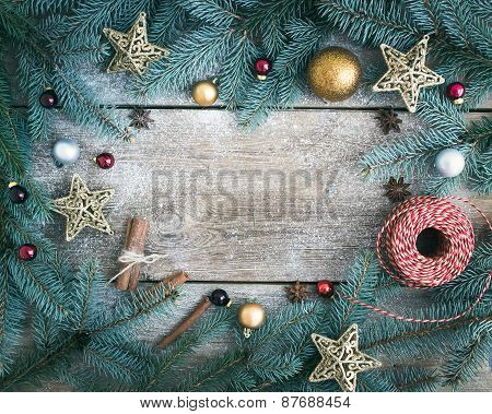 Christmas (new Year) Decoration Background: Fur-tree Branches, Golden, Red And Silver Glass Balls, G