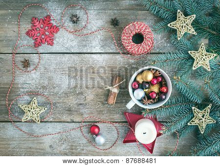 Christmas (new Year) Decoration Background With A Copy Space: A Cup Full Of Colorful Christmas Tree