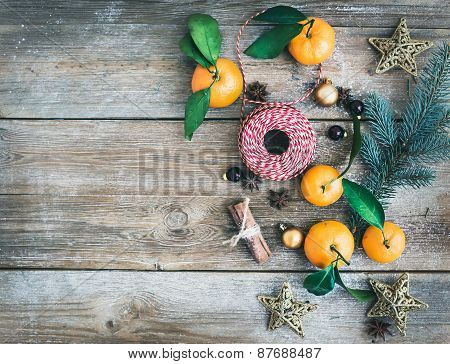 Christmas (new Year) Decoration Background Set: Fur-tree Branches, Glass Balls, Golden Glittering To