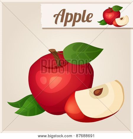Detailed Icon. Red apple.