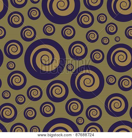 Abstract Purple and Tan Spiral Seamless Pattern.
