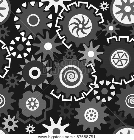 Abstract Seamless Pattern Composed Of Gears In Grayscale.