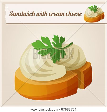 Detailed Icon. Sandwich with cream cheese.