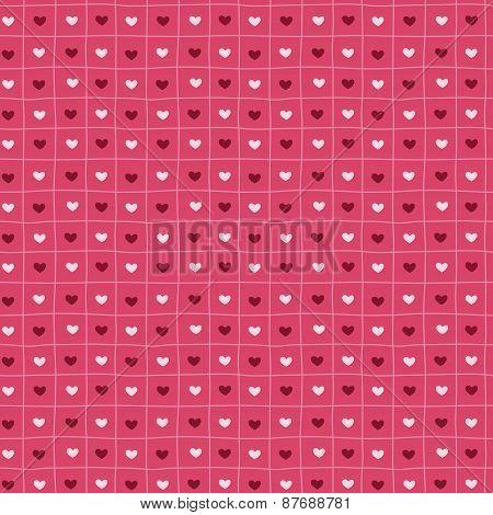 Pink hand-drawn seamless pattern of hearts.