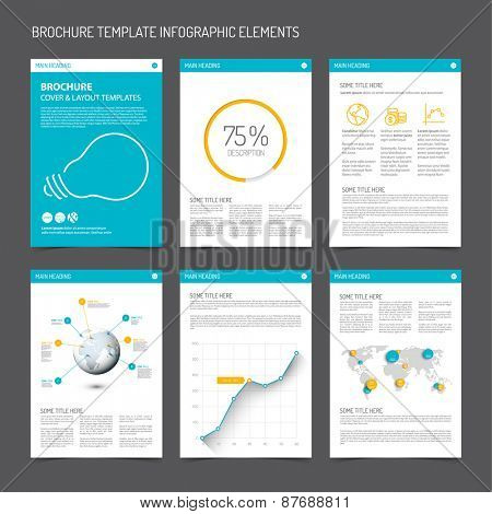 Set of modern brochure flyer design templates with graphs, charts and other infographic elements - blue and orange version