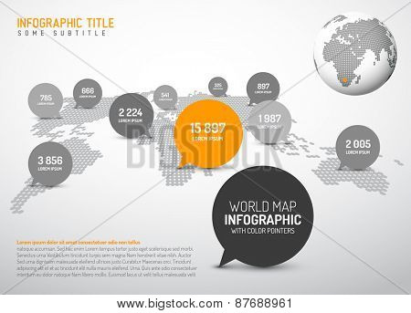 Light World map with simple pointer marks (speech bubbles) -  minimalist black and white infographics concept