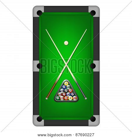 Vector Billiards Balls, Triangle And Two Cues On A Pool Table