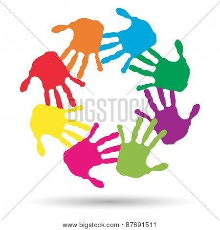 Vector concept or conceptual circle or spiral set made of colorf