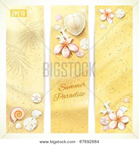 Set of Vertical Banners with Sand and Seashells. Vector illustration, eps10, editable.