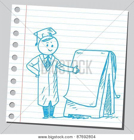 Graduate student with flipchart