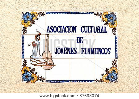 Sign Made Of Tiles As Advertisement For A Flamenco School