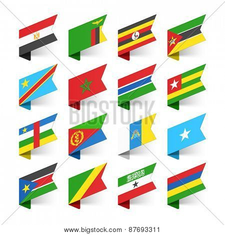 Flags of the World, Africa, set 1 vector illustration