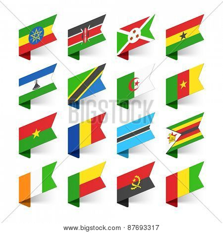 Flags of the World, Africa, set 3 vector illustration