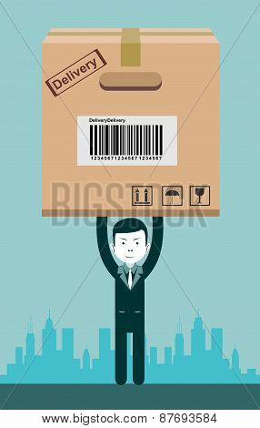 Businessman holding a package. Vector