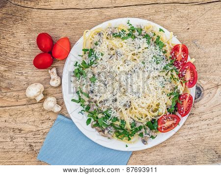 Fresh Italian Pasta With Mushrooms And Cream Sauce