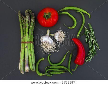 Vegetable Set On A Dark Surface
