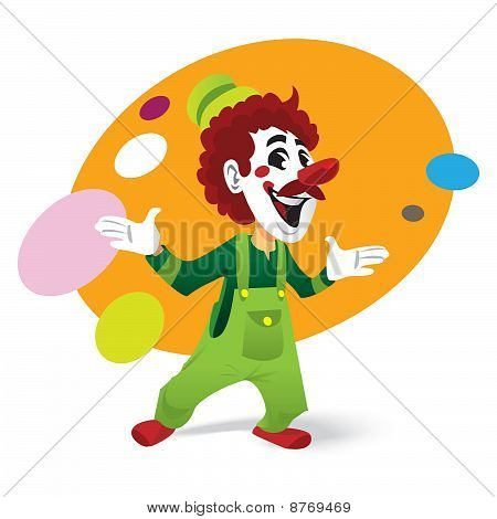 Funny Comedian Clown in mustache juggling ball