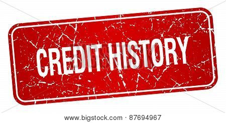 Credit History Red Square Grunge Textured Isolated Stamp