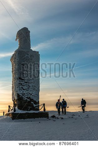 Group Of Skiers On The Mountain Top Snezka
