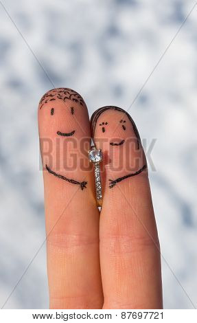 Enamored Fingers With Engagement Ring