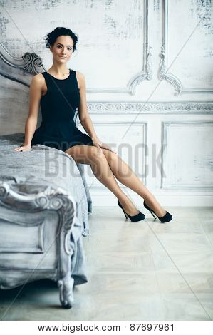 Beautiful Lady On Bed